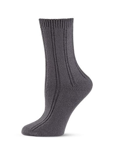 Zac Posen Womens Knitted Crew Socks-GREY-One Size