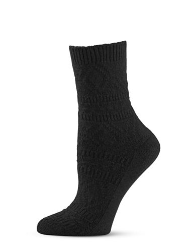 Zac Posen Womens Textured Crew Socks-BLACK-One Size