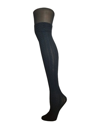 Zac Posen Knitted Tights-BLACK-Small