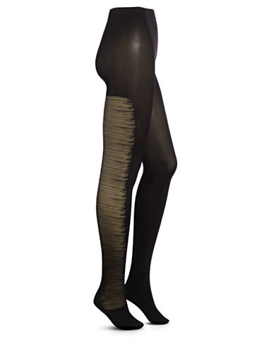 Zac Posen Sheer Opaque Tights-BLACK-Medium