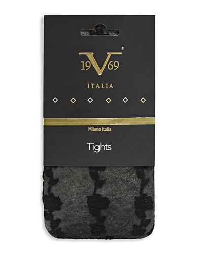 Versace Floral Tights-BLACK-Medium