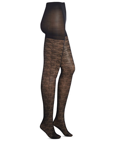 Zac Posen Floral Lace Tights-BLACK-Medium