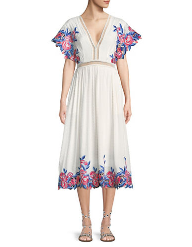 Lilliana Floral Embroidered Eyelet Midi Dress by Saylor