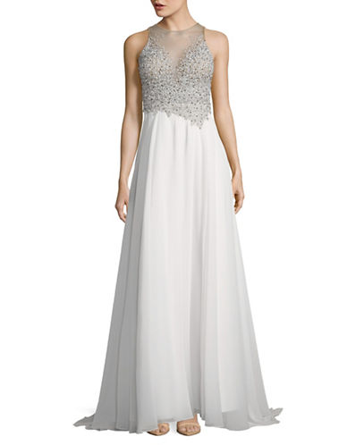 Glamour By Terani Beaded Illusion Chiffon Prom Gown-WHITE-6