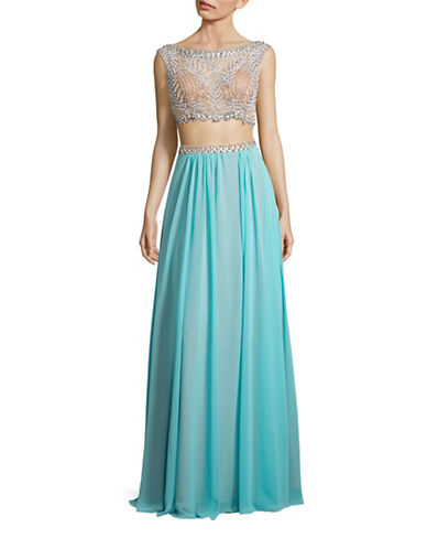 Glamour By Terani Faux-Pearl Beaded Crop Top and Skirt-BLUE-4