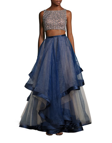 Glamour By Terani Two-Piece Beaded Asymmetrical Ball Gown-BLUE-6