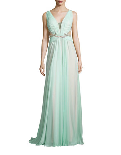 Glamour By Terani Embellished Plunge A-Line Gown-GREEN-8
