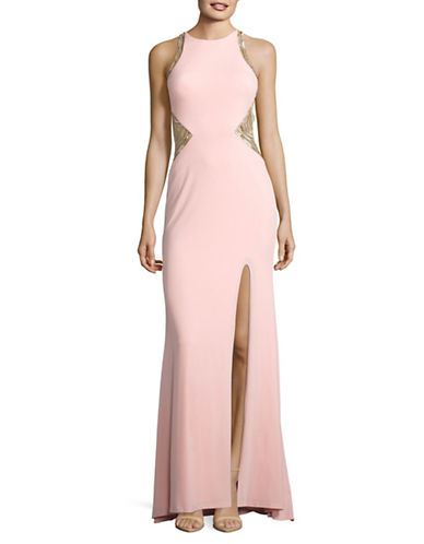 Glamour By Terani Beaded Illusion Keyhole-Back Prom Gown-PINK-0