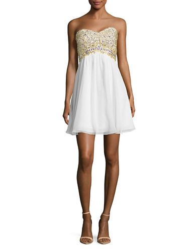 Decode 1.8 Strapless Beaded Bodice Swing Dress-WHITE-2