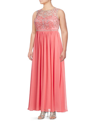 Decode 1.8 Beaded Chiffon Gown-CORAL-22W
