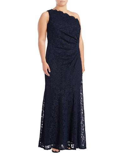 Decode 1.8 One-Shoulder Glitter Lace Sheath Dress-BLUE-16W