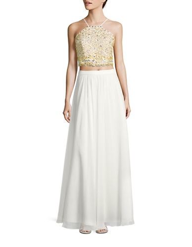 Decode 1.8 Two-Piece Beaded Lace-up Halter Prom Gown-GOLD-6