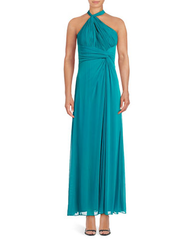 Decode 1.8 Gathered Side-Knot Mesh Prom Gown-GREEN-10