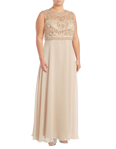 Decode 1.8 Beaded Illusion Chiffon A-Line Gown-PINK-14W
