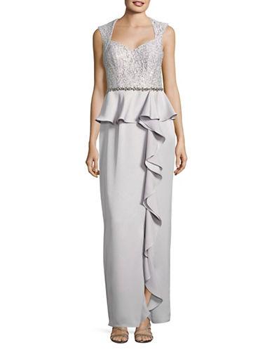 Decode 1.8 Sweetheart Lace Peplum Ruffle Dress-SILVER-12