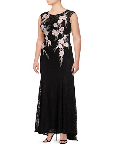 Decode 1.8 Plus Embroidered Lace Gown-BLACK-20W