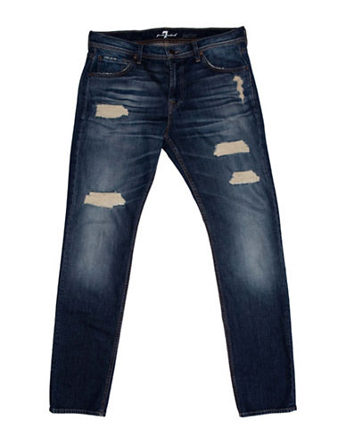 7 For All Mankind Paxtyn Saltwater Destroyed Jeans-BLUE-32