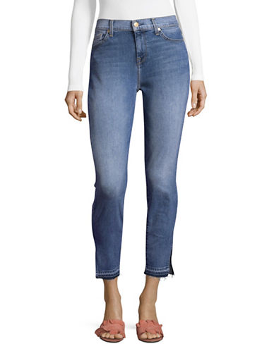 7 For All Mankind Side Slit Ankle Super Skinny Jeans-BLUE-26