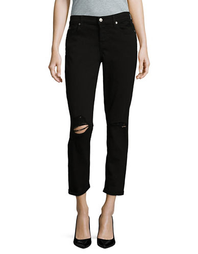 7 For All Mankind Destroyed Girlfriend Jeans-BLACK-32
