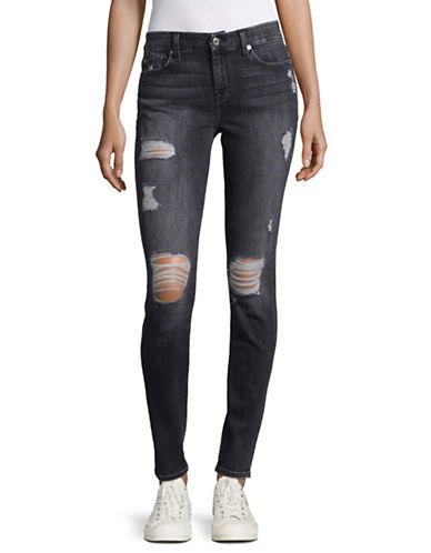 7 For All Mankind Destroyed Ankle Skinny Jeans-VNO2-24