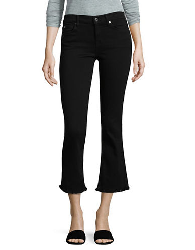 7 For All Mankind Cropped Bootcut Raw-Hem Jeans-BLACK-30