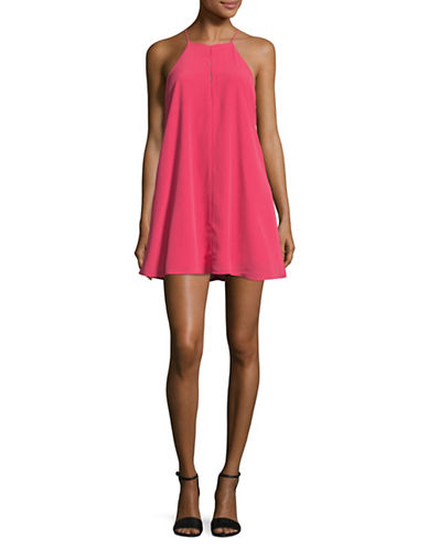 Design Lab Lord & Taylor Halter Swing Dress-PINK-Small