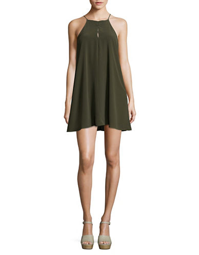 Design Lab Lord & Taylor Halter Swing Dress-GREEN-Medium