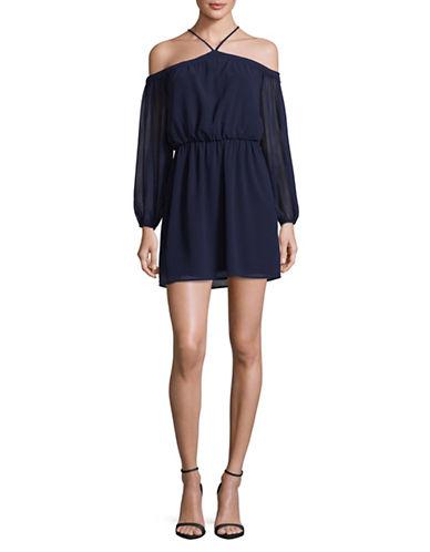 Wayf Off-Shoulder Halter Dress-BLUE-Medium