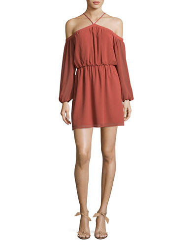 Wayf Off-Shoulder Halter Dress-DARK PINK-Medium