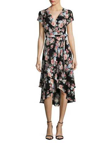 Wayf Orleander Floral Wrap Dress-BLACK/BOUQUET-X-Small