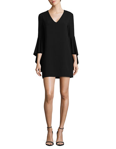 Wayf Bell-Sleeved Shirt Dress-BLACK-X-Small