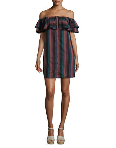 Wayf Off-Shoulder Ruffle Dress-BLACK STRIPE-Small