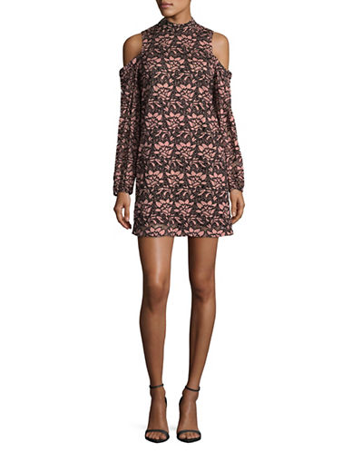 Wayf Cold-Shoulder Lace Dress-PINK/BLACK-Large