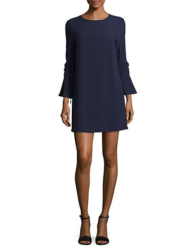 Wayf Bell-Sleeve Crepe Shift Dress-BLUE-Large