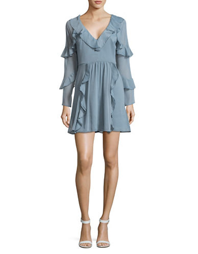 Wayf Ruffle Mini Dress-BLUE-Medium