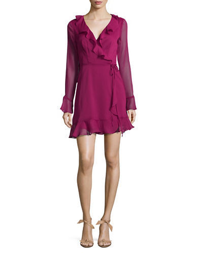 Wayf Bell Sleeve Wrap Dress-PINK-Large