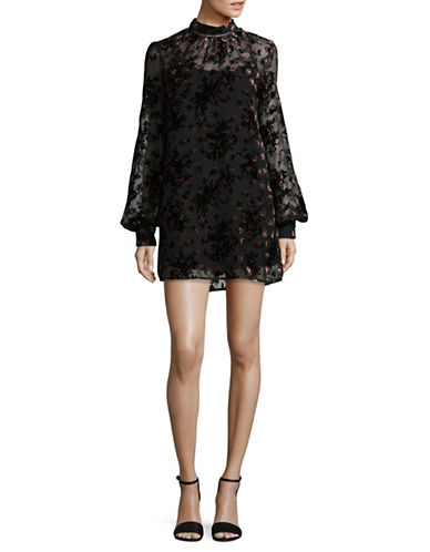 Wayf Burnout Floral Shift Dress-BLACK-Large
