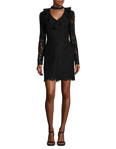 Wayf Lace Ruffled Choker Dress-BLACK-X-Small