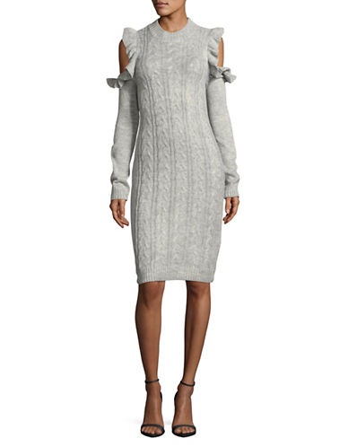 Wayf Cold Shoulder Cable-Knit Bodycon Dress-GREY-Small