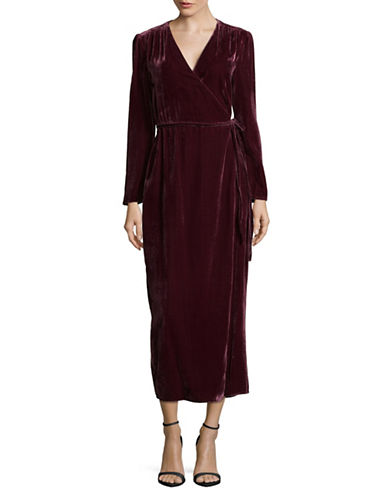 Wayf Gwyneth Wrap Velvet Dress-RED-Medium