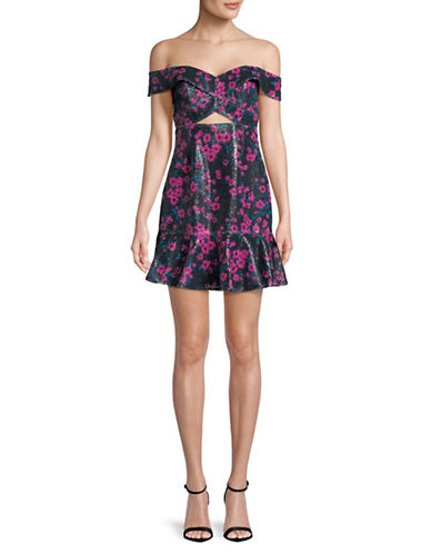 Wayf Janet Off-the-Shoulder Flounce Dress-BLACK/FUSHIA-Small