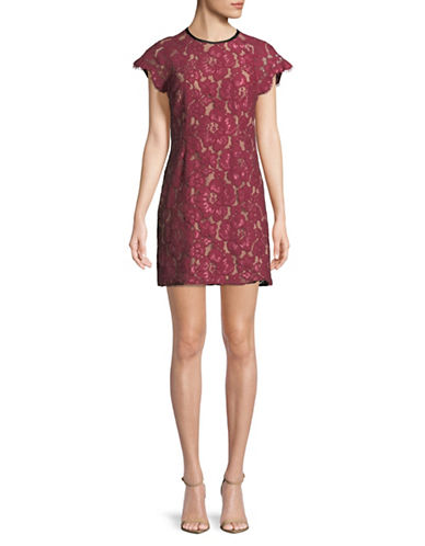 Wayf Tabbie Raglan Lace Sheath Dress-RED-Large