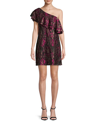 Wayf Dilon One-Shoulder Ruffle Dress-FUSHIA MULTI-Large