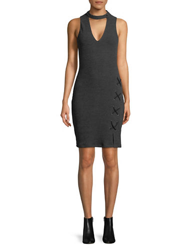 Wayf Monica Choker Mini Dress-CHARCOAL-X-Small