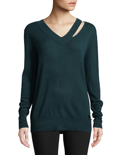Autumn Cashmere Slash Cashmere Sweater-BLUE-Medium