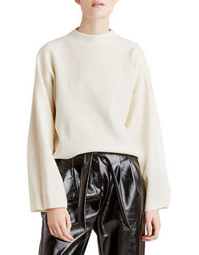 Autumn Cashmere Boxy Funnel Neck Sweater-NATURAL-Large