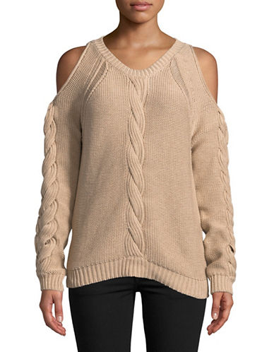 Autumn Cashmere Cold Shoulder Cotton Sweater-BEIGE-X-Large