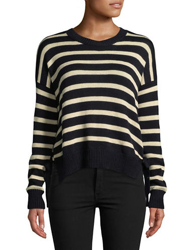Autumn Cashmere Striped Hi-Lo Cotton Sweater-NAVY BLUE-Medium