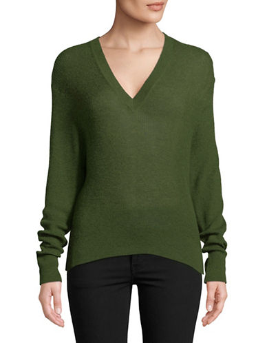 Autumn Cashmere Ribbed Hi-Lo Cashmere Sweater-GREEN-Small