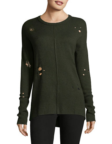 Autumn Cashmere Distressed Hi-Lo Cashmere-Blend Sweater-GREEN-Small